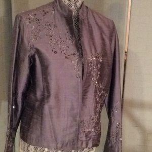 Silver blue embellished open front blazer